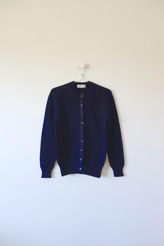 1960s Braemar Navy Blue Wool Cardigan Sweater