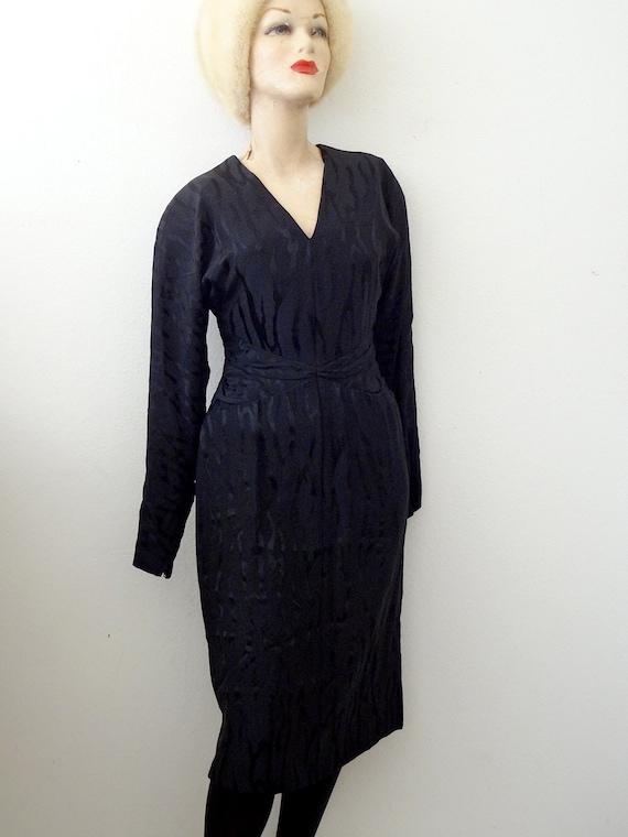 1980s Pauline Trigere Cocktail Dress / black silk… - image 2