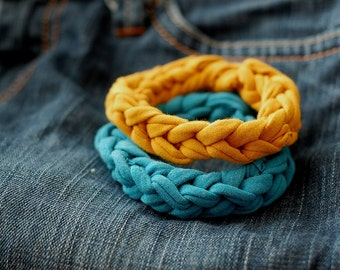 Set of blue and yellow upcycled t-shirt bracelets