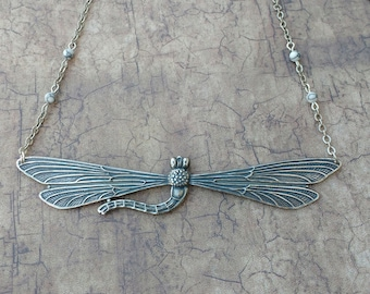 XL dragonfly beaded necklace antique silver tone vintage style