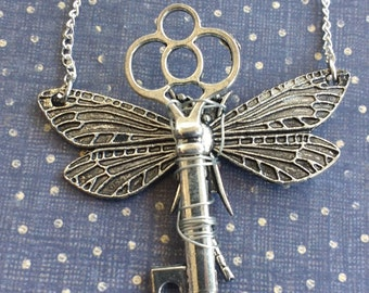 Silver tone dragonfly key necklace key with wings charm necklace