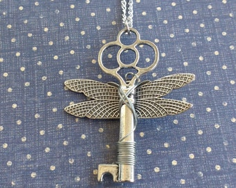 Dragonfly key necklace dragonfly lock wings