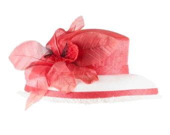 Red hat, Kentucky Derby hat, Summer hat, Church hat, wedding hat