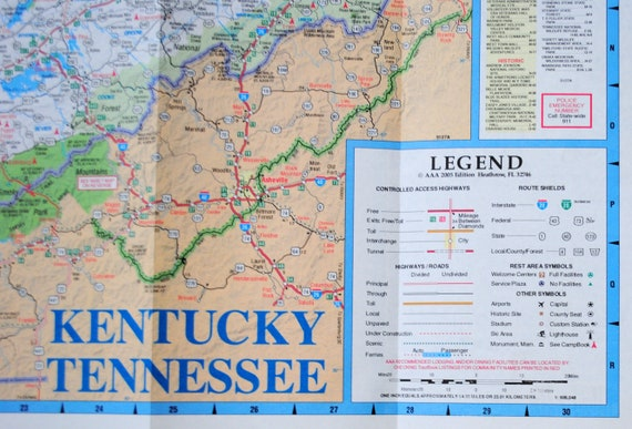 AAA Kentucky Tennessee Road Map American Automobile Association State Series