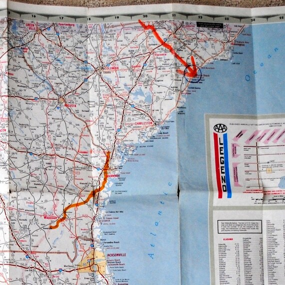 AAA Eastern States South United States Road Map 1980 Edition American  Automobile Association