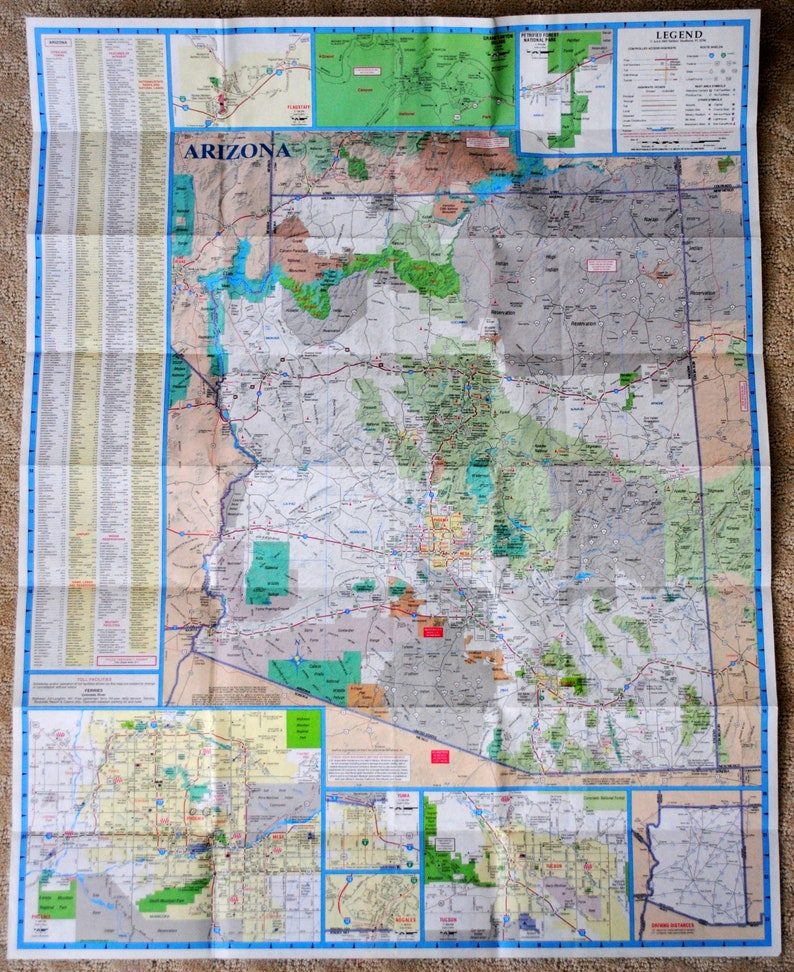 Road Map Of Arizona And New Mexico.Aaa Arizona New Mexico Road Map American Automobile Etsy