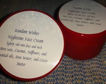 Nighttime face cream, face, 1.5 ounces,  jar, cream, moisturize, essential oils,  natural