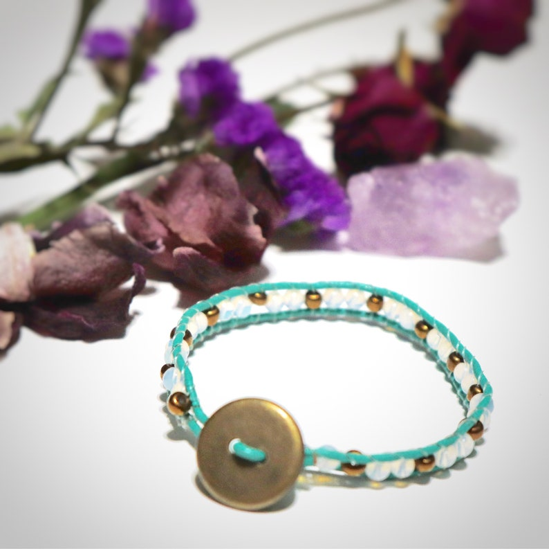 Mermaid Gifts for Her Turquoise Leather Wrapped Bracelet Leather Jewelry Leather Wrap Wrap Bracelet Sea Opal Leather Wrap Bracelet