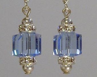 Light Sapphire Swarovski Cube Earrings