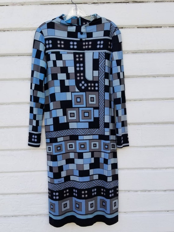 70s Paganne Blue Abstract Print Dress