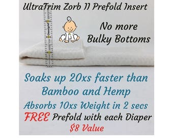 SweetPees UltraTRIM Prefold ZORB II Insert No Bulky Bottoms same absorbency as 12 layers of bamboo fleece or 12 layers of French terry