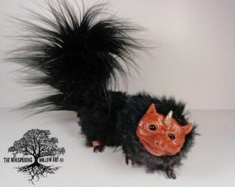OOAK Plush Fantasy Art Doll FULLY Poseable Brown And Black Faux Fur Dragon Creature | Artist Doll | Fantasy Doll | OOAK Art Doll