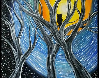 ACRYLIC PAINTING 11x14 Original Cosmic Swirl & Ancient Trees With Owl Sillouette Painting