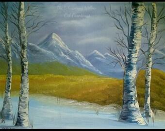 OIL PAINTING 18x24 Blue Snow Winter Scene Landscape Birch Trees Mountain Clouds