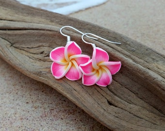 Plumeria Earrings, Pink Earrings, Flower Earrings, Hawaiian Jewelry·Hawaii Jewelry Frangipani Mother Gift Tropical Flower Wedding Jewelry 30