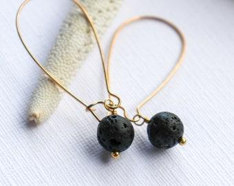 unique cage dangle earrings Rustic style earrings black lava stone mixed metal drop stack earrings