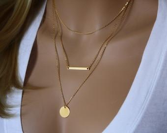 Monogram Gold Layering Necklace, Layered Necklace Skinny Bar Stacking Necklace Stacked Necklace Layer Necklace Multi Strand Bar Necklace 032