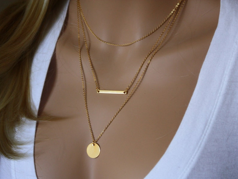 a41e390b06291 Monogram Gold Layering Necklace, Layered Necklace, Skinny Bar Stacking  Necklace, Stacked Necklace, Layer Necklace, Multi Strand Bar Necklace