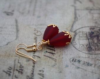 Red Sea Glass Earrings Beach Glass Earrings Red Earrings Bridesmaid Gift Wedding Jewelry Bridal Jewelry Bridesmaid Jewelry Bridal Earrings