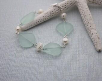 Sea Glass Bracelet Sea Glass Jewelry Beach Glass Jewelry Seaglass Jewelry Beach Glass Bracelet Wedding Jewelry Bridal Party Bridesmaid 029