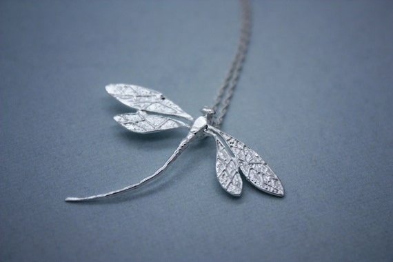7bb8b1ed2 Dragonfly Necklace Sterling Silver Plated Dragonfly Jewelry   Etsy