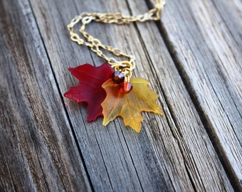Fall Necklace, Autumn Necklace, Leaf Necklace, Maple Leaves Autumn Leaves Fall Leaves Nature Jewelry Maple Leaf Necklace, Fall Leaf Necklace