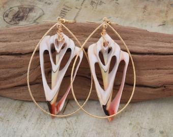 Hawaiian Jewelry Hawaii Jewelry Shell Earrings Beach Jewelry Shell Jewelry Seashell Jewelry Seashell Earrings Drop Earrings Teardrop 040