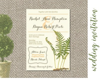 Botanical Fern Wedding Invitation Custom Digital File