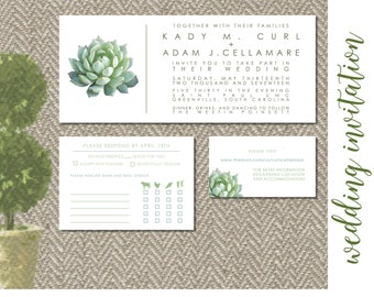 Modern Succulent Wedding Invitation - Digital File