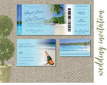 Beach Destination Wedding Invitation Digital Files