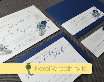 Fall Themed Floral Wreath Invitation