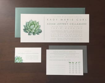 Modern Succulent Wedding Invitation