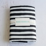 black and white stripe flannel/ cotton baby blanket