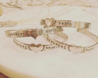 Grateful Heart Sterling Silver Bracelet