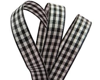 "5 Yards Black White Gingham Mini Check Satin Back Ribbon 5//8/""W"