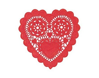 Valentines Day Red Heart Doilies Table Decoration pack of 12