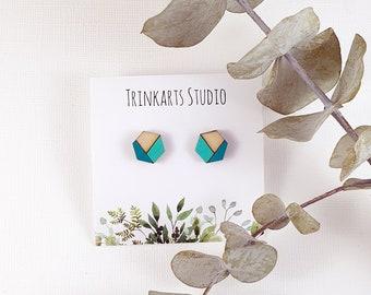 Hexagon Stud Earrings - Painted Wood Earring - Wood Statement Earrings - Geometric Earrings - Laser Cut & Engraved Earrings