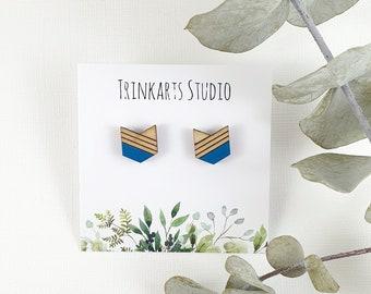 Tribal Arrow Geometric Stud Earrings - Laser Cut & Etched Earrings - Chevron Earrings - Wooden Earrings - Arrow Earrings - Painted Earrings