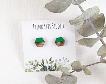 Hexagon Stud Earrings - Laser cut & Engraved Wood Earrings - Geometric Earrings - Hand Painted Earrings - Handmade Earrings