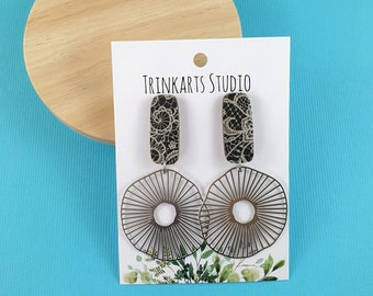 Black & White Lace - Wood + Stainless Steel Dangle Earrings - Lasercut Wood Earrings - Statement Earrings - Paper Covered Earrings