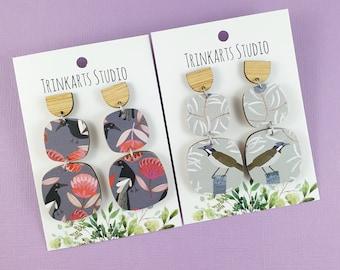 Australian Native Bird Earrings - Banksia Flower Earrings - Flower Earrings - Double Square Dangle Earrings - Lasercut Wood Earrings
