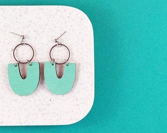 Mint Green U Dangle Statement Earrings - Wood Earring - Wood Earrings - Painted Wood Earrings - Lasercut Earrings - Stainless Steel Earrings