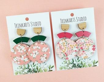 Paper Covered Circle Stud Dangle Earrings - Lasercut Wood Earrings - Peach Garden Earrings - Flower Earrings - Flower Earrings