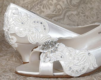 Woman's Low Heel Wedding Shoes 1.75 - Woman's Vintage Wedding Lace Peep Toe Heels, Women's Bridal Shoes, Wedding Shoes, Bridesmaid