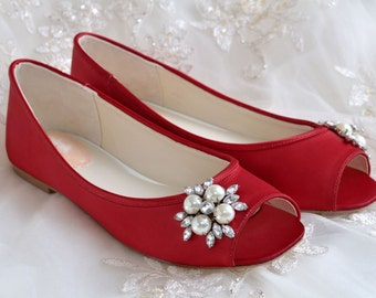 819998e8c2a Wedding Bridal Shoes   FREE Custom Dye Service   Flat Peep Toe Shoes  Bridal