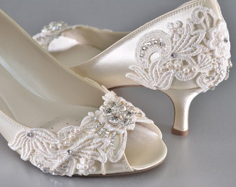 08d0d5b599a Low Heel Wedding Shoes- FREE Custom Colors-Women s Vintage Wedding Lace  Peep Toe Heels