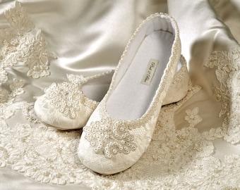 Wedding Shoes Rachel Bridal Ballet Flat Vintage Lace   Etsy