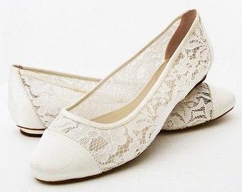 ff33bfc83eb4 Wedding Shoes - Shoes Flat Lace Shoes Womens Wedding Shoes- Wedding Flats  Womens Shoes Wedding-Bridal Shoes