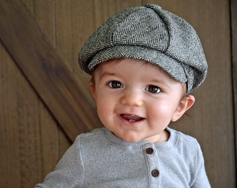 355e7737d84 Baby Boy Newsboy Herringbone Baby Boy Hat Infant Newsboy Hat Ring Bearer  Baptism Wedding Formal Baby