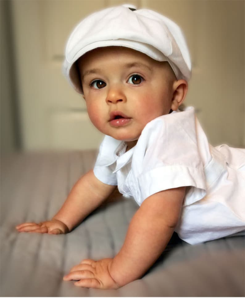 BABY BOY Christening Hat Quality Wedding Baby Boy Newsboy  f66e67af2bc7